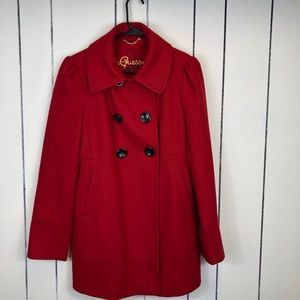 NWOT Guess Red Wool Double Breasted Jacket Sz L